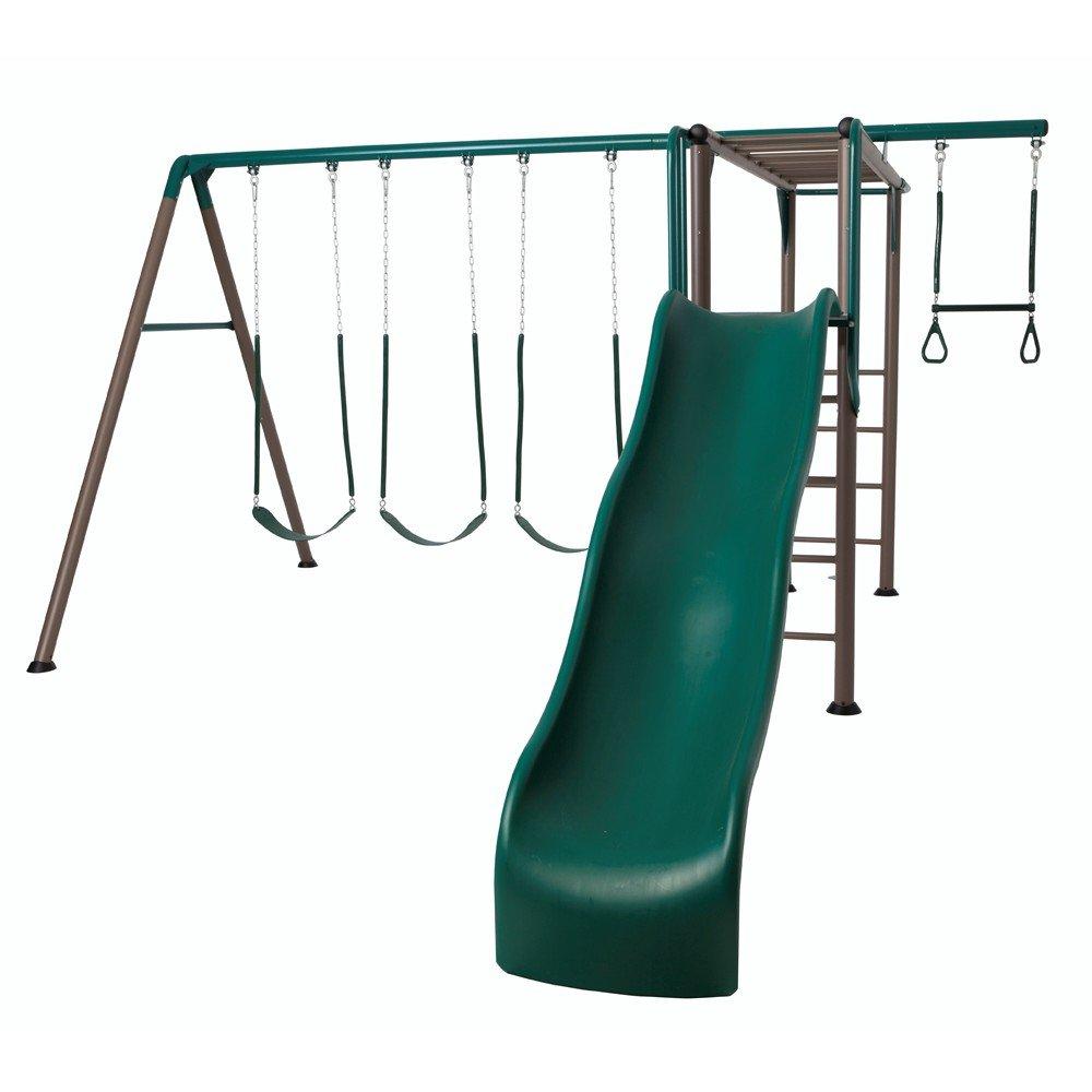 Lifetime 90143 Monkey Bar Adventure Swing Set with 9 Feet Wavy Slide, Earthtone