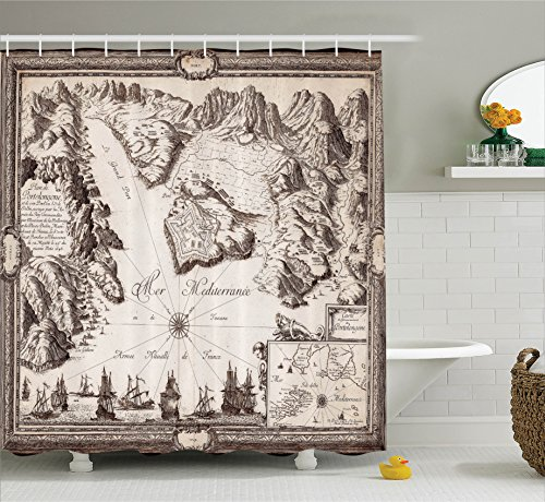 Ambesonne Wanderlust Decor Collection, Old Map Warships Countries Kingdoms Locations Geographical Picture Pattern, Polyester Fabric Bathroom Shower Curtain, 75 Inches Long, Tan Beige Brown