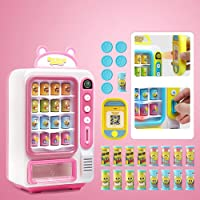 Vending Machine Toys Cartoon Beverage Machine Toy Simulated Vending Machine Simulated Payment with Fun Sound and Effective,Cartoon Image Early Education Toys for Children (pink)