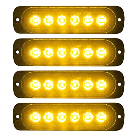 Truck Parts 4x Amber 6 Led Auto Car Truck Emergency Beacon Warning Hazard Flash Strobe Light Atv,rv,boat & Other Vehicle