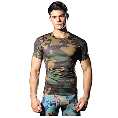 Findci Men's Workout Short Sleeve Camo Print Top Running Exercise Quick-Dry Compression T-Shirt