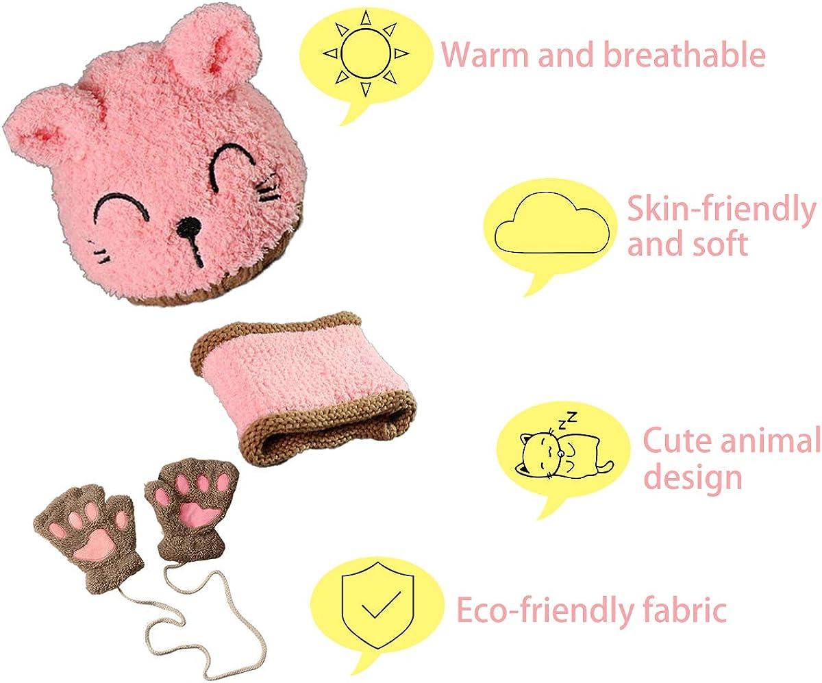 FADANY Baby M/ütze M/ädchen Jungen,Schal Handschuhe Winterm/ütze Warm Dreiteilig,Earflap Hut S/ü/ße Katze Beige//Pink