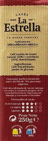 La Estrella Café Molido de tueste natural (50%) y torrefacto descafeinado (50%) Descafeinado Mezcla: Amazon.es: Amazon Pantry
