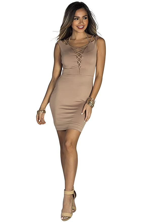 a8e412cdd3df Babe Society Women's Mocha Lace Up Mesh Neckline Bodycon Dress at Amazon  Women's Clothing store: