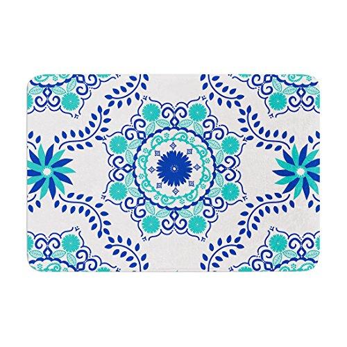 KESS InHouse AS1012ABM02 Bath Mat Anneline Sophia ''Let's Dance Blue'' Teal Aqua Memory Foam Bath Mat, 24'' X 36'',, by Kess InHouse