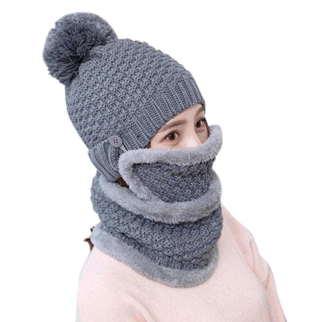 269c14cd2d4 Meflying Women Pom Pom Beanie Hat Knitted Cap Scarf Face Mask Set ...