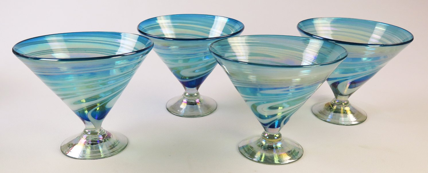 Mexican Glass Turquoise White Swirl Margarita or Martini (short) Set of 4 by Mexican Margarita Glasses (Image #5)