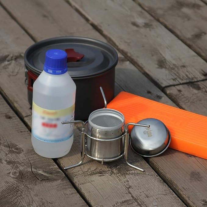 Hornillo de alcohol para senderismo, acampada, antideslizante, pequeño, de acero inoxidable, portátil, giratorio, con soporte, ultraligero