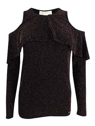 2d3ab25c298fc MICHAEL Michael Kors Petite Metallic-Knit Cold-Shoulder Top (Black Gold