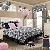 Cotton Tale Designs White and Black Damask 7 PC Reversible Twin Quilt Bedding Set, Girly