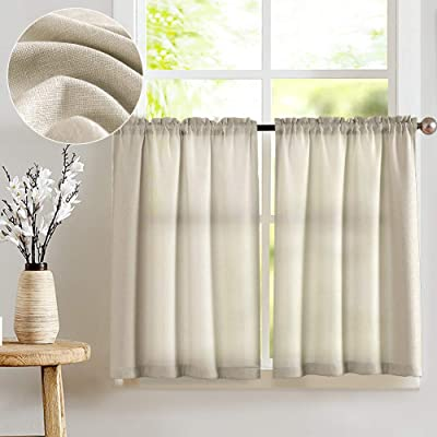 Buy Jinchan Kitchen Curtains For Bathroom Semi Sheer Short Curtains For Small Window Casual Weave Cafe Curtains 24 Inch Length Half Window Treatments 2 Panels Beige Online In Turkey B071cs3rly
