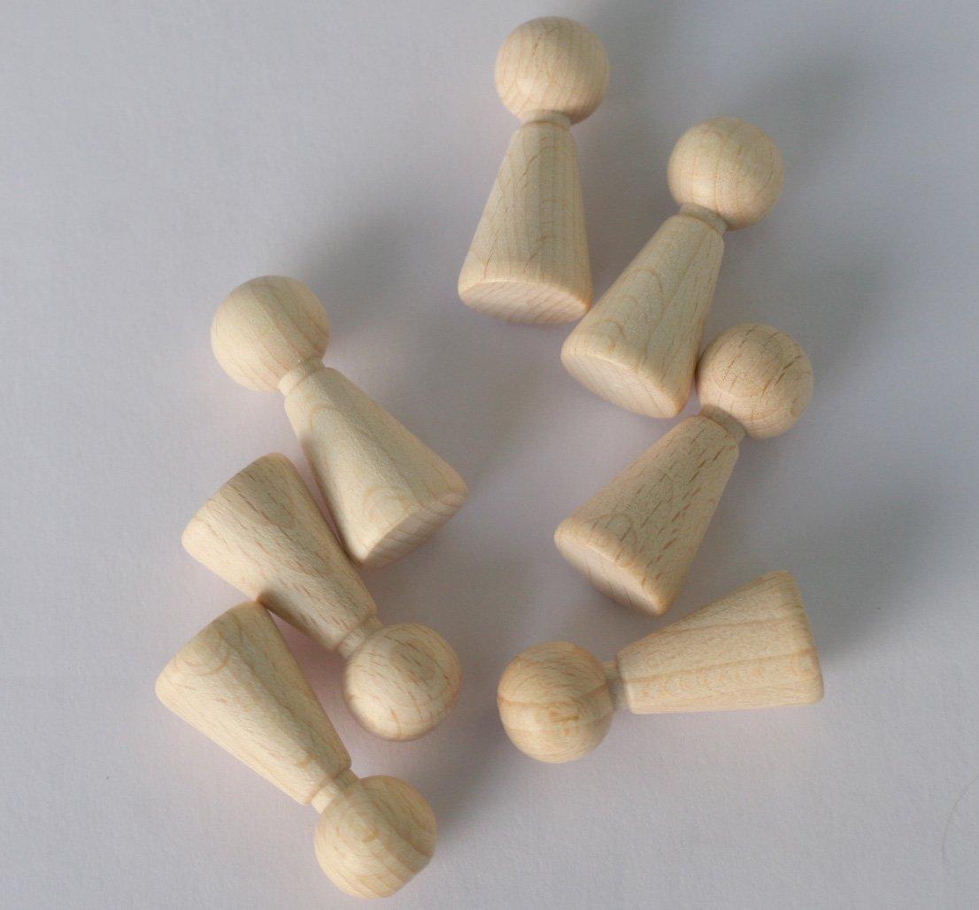 62 St/ück Figurenkegel aus Holz 37mm hoch