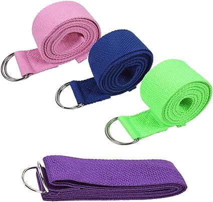 KINDOYO Cinturón de Yoga - Cinturon de Algodón Duraderos con Hebilla de D-Ring Correa para Yoga Estiramiento Fitness,4 * Correas, 4 Colores,Tamaño de Correa:183cm*3.8cm: Amazon.es: Deportes y aire libre