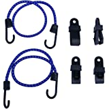 """XCAR Gust Strap Wind Protector 24 """" Bungee Cord with 4 Tarp Clips -Secure ATV Cover, BBQ Cover, RV Tire Cover Camping Tent Accessories"""