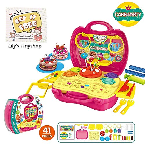 Deardeer Kids Play Dough Cake Party Play Set 41 Pcs Pretend Play Toy Kit with Dough and Moulds in a Portable Case