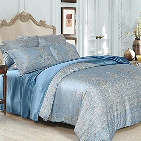 GOUGOU Silk Four Sets Of Home Textiles Mulberry Silk Four Bed Linen 1 8 M Bed 2 0 M Beds Blue 2 0m