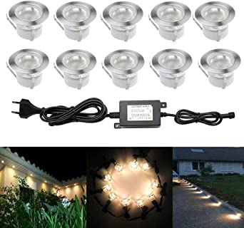 10pcs Luz LED Foco empotrable al Aire Libre 1W IP67 Impermeable ...