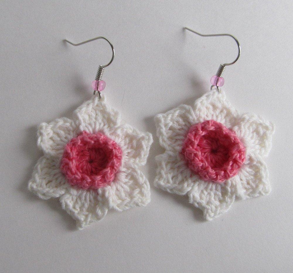 Amazon Crochet Dark Pink White Daffodil Earrings Cotton