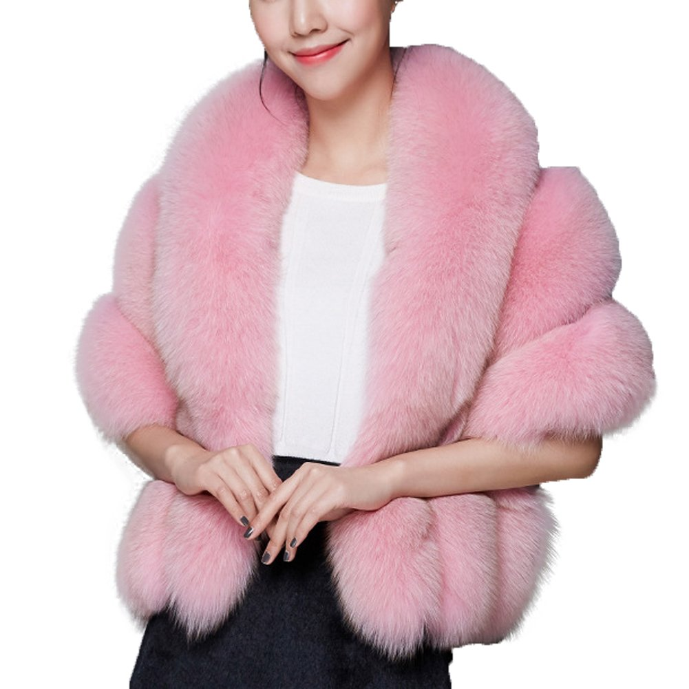 Caracilia Luxury Faux Fur Coat Wedding Shawl Cape for Party/Show Pink2 CA89