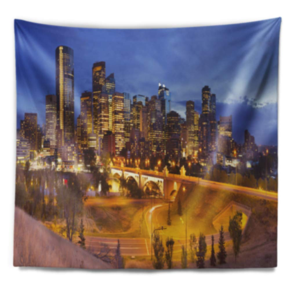 x Large: 80 in x 68 in Designart TAP11610-80-68 Skyline of Calgary at Night Panorama Modern Cityscape Blanket D/écor Art for Home and Office Wall Tapestry Created On Lightweight Polyester Fabric