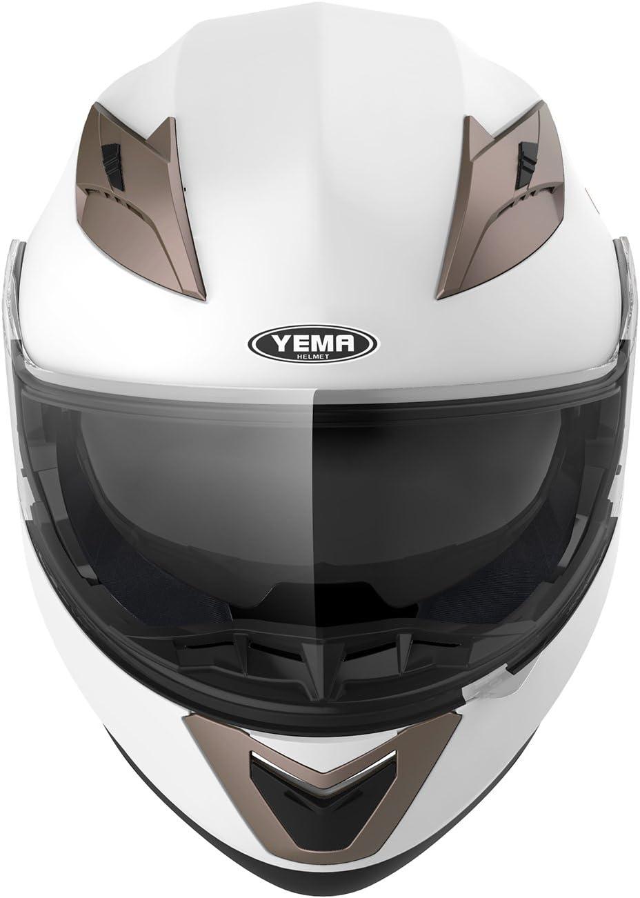 Yema YM-925 Rollerhelm Sturzhelm mit Doppelvisier Sonnenblende ECE f/ür Damen Herren Erwachsene-Schwarz Matt-XL Motorradhelm Klapphelm Integralhelm Fullface Helm