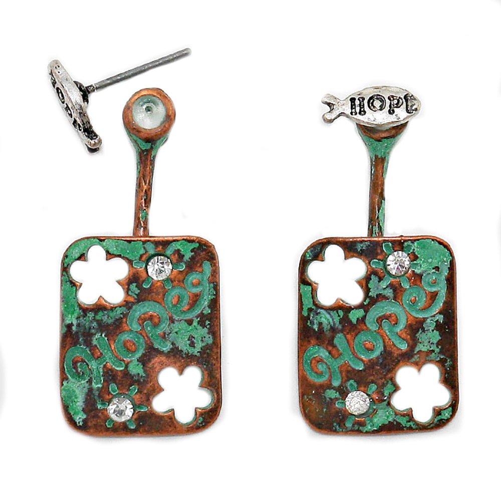 Fashion Jewelry by SJA Fashion for Less | ''Hope'' Ear Jacket Earrings (Patina Verdigris)
