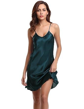 825244546 Aibrou Women Satin Negligee Babydoll Lingerie Night Dress Lingerie  Nightdress Sleepwear Underwear Short Strap Dress V