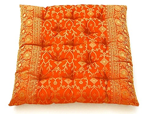 Worldcraft Industries Indian Inspired Sari Covered Embroidered Meditation Floor Cushions, Saffron Orange, Hand Stitched and Filled with Natural Cotton 24x24x3