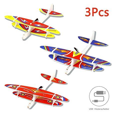 Herefun 3Pcs Avión Planeador Glider Avion Planeadores de Juguete, Planeadores de Espuma, Rellenos de Bolsas de Fiesta, Regalos (Carga USB)