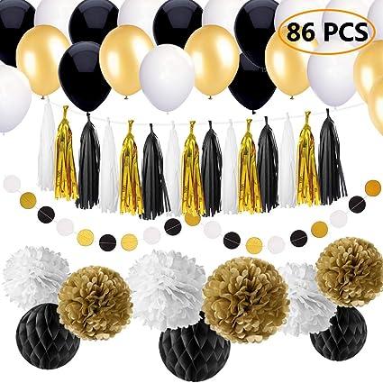 Amazon.com: 86 piezas, negro y oro decoraciones de fiesta ...
