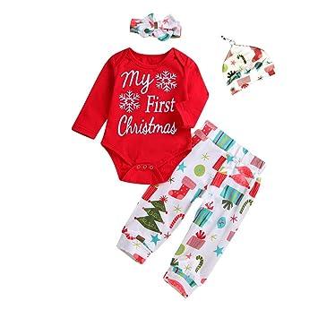 ab693a26bad8 4Pcs My First Christmas Santa Clothes Set Toddler Newborn Infant ...