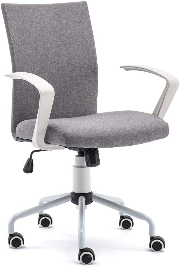DJ Wang Grey Desk Chair, Mordern Comfort White Swivel Fabric Home Office Task Chair with Arms and Adjustable Height Suitable for Computer Working and Meeting and Reception Place