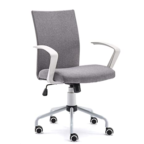 DJ·Wang Grey Desk Chair, Mordern Comfort White Swivel Fabric Home Office  Task Chair with Arms and Adjustable Height Suitable for Computer Working  and ...