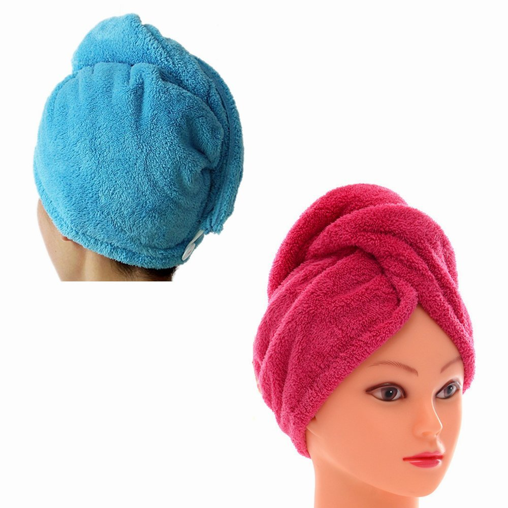 2 Packs MsFeng Superfine Fiber Soft Coral Fleece Ultra Absorbent Twist Dry Hair Cap Towel Bath Head Wrap Turban (Rose Red and Blue)