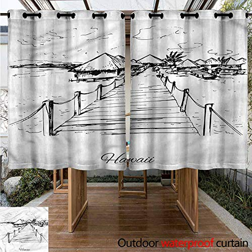Sliding Door Curtain Hawaiian Sketch Style Dock Tiki Hut for Porch&Beach&Patio W 55