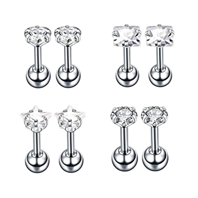 9dfc90852 4-6 Pairs 16g Sparkle Cubic Zirconia Dainty Stud Earrings Stainless Steel  Cartilage Earrings Tragus