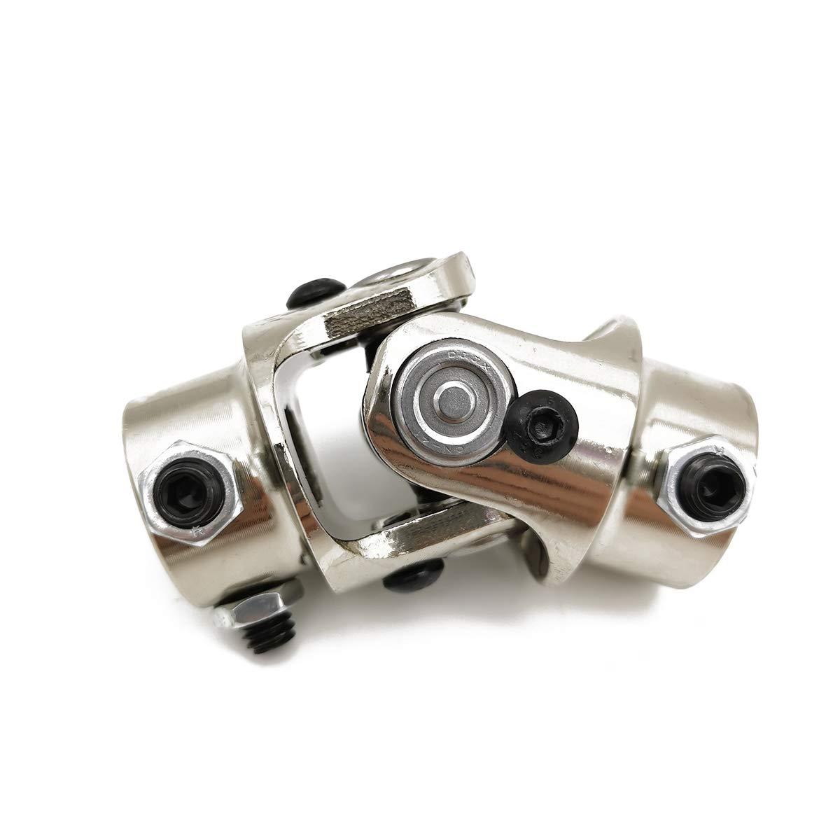 Ensun 3/4-30 Spline x 3/4 DD Nickel Plating Single Steering Shaft Universal U Joint, Maximum Working Angle: 35° Degree, Total Length: 83mm (3-1/4'')