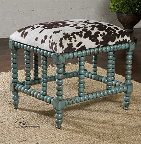 Ambient Aqua Blue Finish On Solid, Plantation Grown Mahogany Wood With Cushioned Seat In Plush, Dark Chocolate And Milky White Velvet Small Benches by Ambient