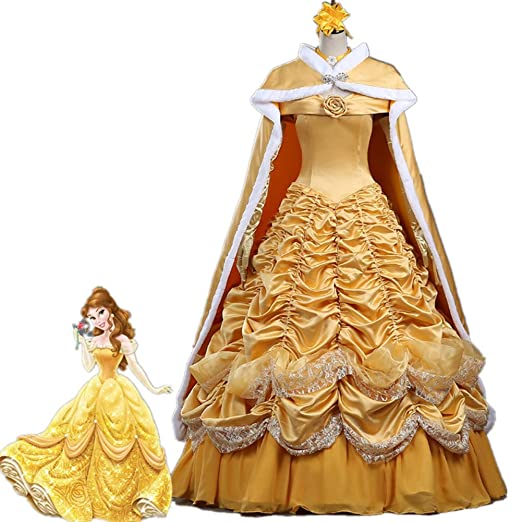 Amazon.com  Beauty and The Beast Belle Costume Halloween Costumes for Women  Princess Yellow Belle Dress Costume Cloak  Clothing e42555db159d