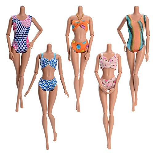 Asiv 5 Sets Fashion Summer Swimsuits, Beach Bikini, Bathing Clothes for Barbie Doll For Little Girl Gift