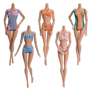 Aléatoire De Bain AccessoiresStyle Asiv Mode 5 Poupée D'étéPlage Maillots Pour Vêtement Ensembles BarbieBikini uPXZkiTO