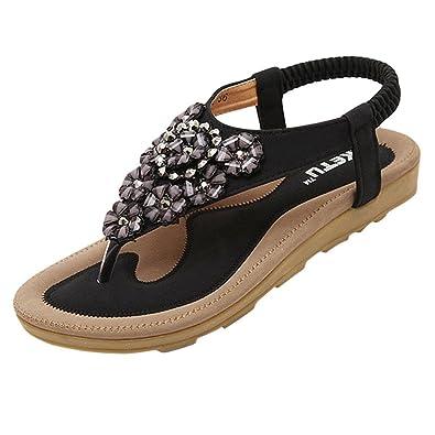 YOUJIA Damen Sandalen Schuhe Flattie mit Drill Strappy Flip Flops Pink 41 VbWdc3Wq