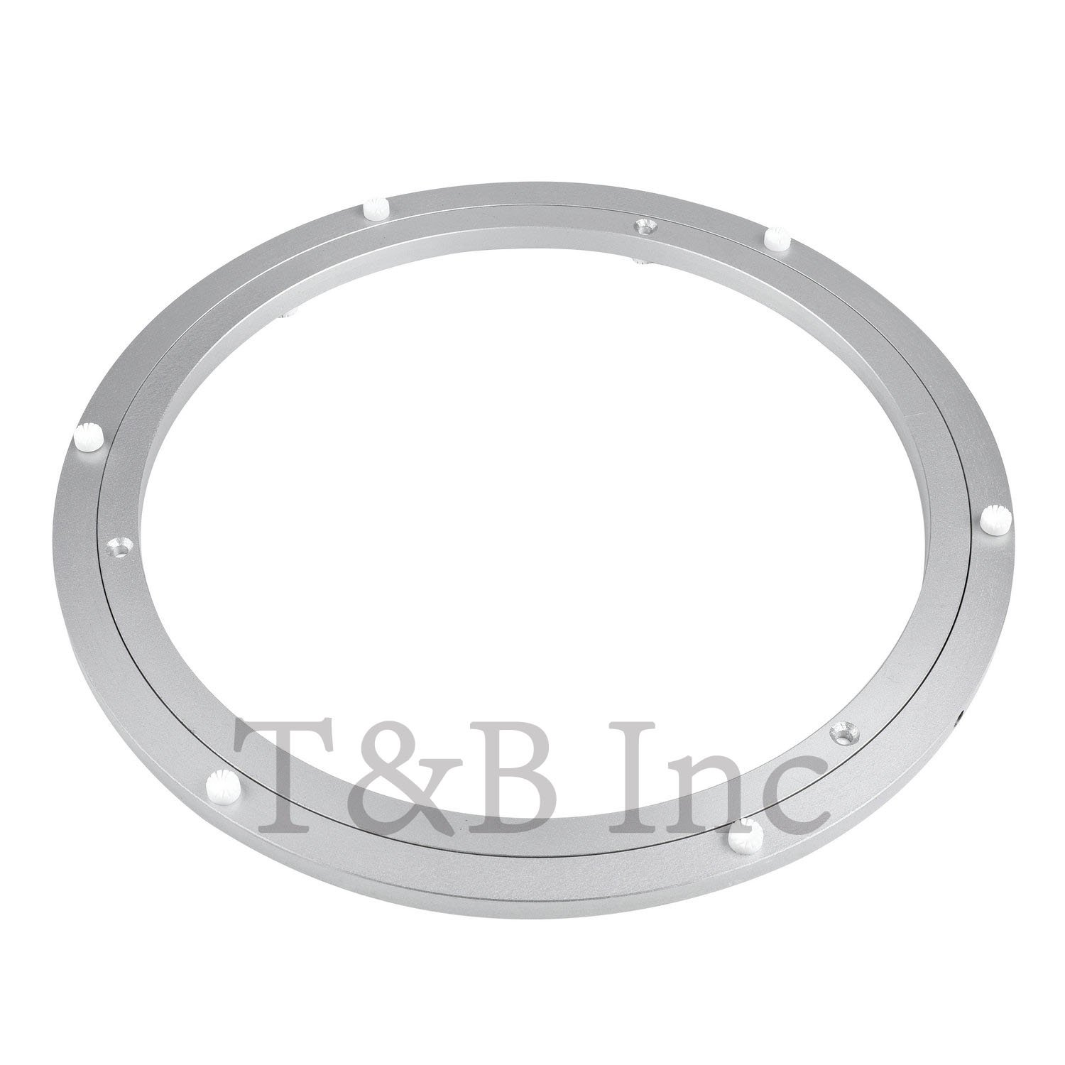 T&B 12 Inch Diameter Aluminum Metal Lazy Susan Hardware Rotating Turntable Bearings Swivel Plate 300mm Silver Turntable on Dining-table