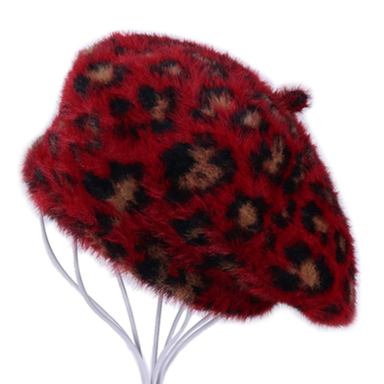 2018 Fashion Leopard Women Warm Winter Berets Caps Vintage Imitation Mink Fur Velvet Lady Fur Female Beanies