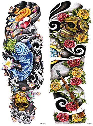 Nutrition Bizz Extra Large Temporary Tattoos Full Half Arm Tattoo Sleeves 20 Sheets for Men Women Teen Fake Tattoo Biker Tattoo Waterproof Stickers for Arms Shoulders Chest & Back by NutritionBizz (Image #3)