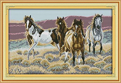 Cross Stitch Embroidery Starter Kit including 14 Count 23x15 classic reserve Aida colored threads and tools Four Horses No Frame