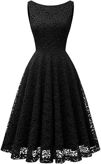 FEDULK Clearance Dress Christmas Women Lace Printed Fashion Flowy Swing Evening Party Dress