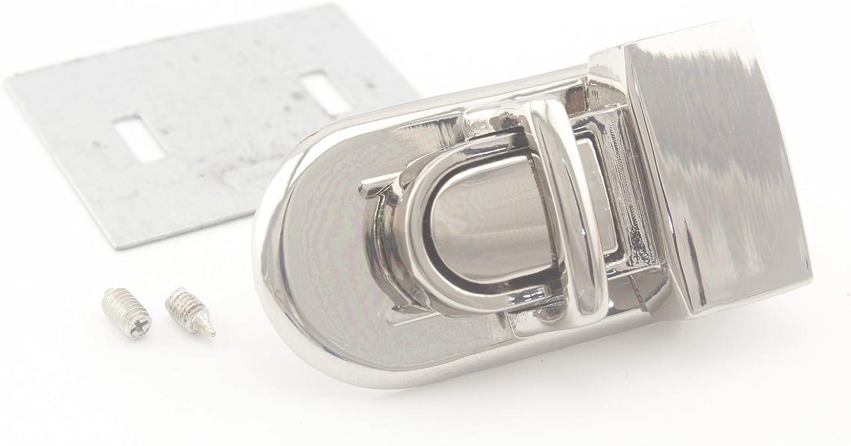 Nickel 1 Set per lot N7 2.4cm x 4.1cm Zinc Alloy Tongue Lock Purse Lock for Handbag Purse Bag Making
