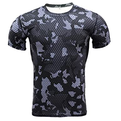 Dri fit Black Camo Compression Shirt Short Sleeve |