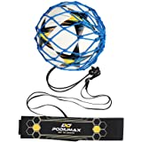 PodiuMax Hands-Free Soccer Kick/Throw Trainer, New Ball Locked Net Design, Adjustable Waist Belt & Cord Suit for All Levels (Fits Ball Size 3, 4, 5)